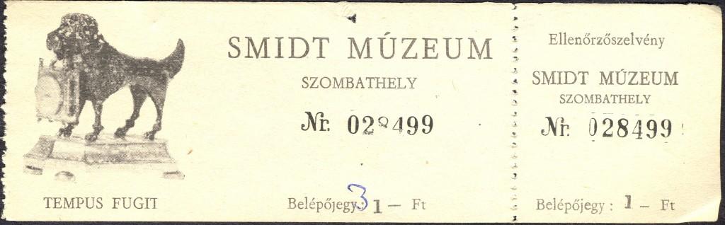 Smidt Múzeum régi belépőjegy